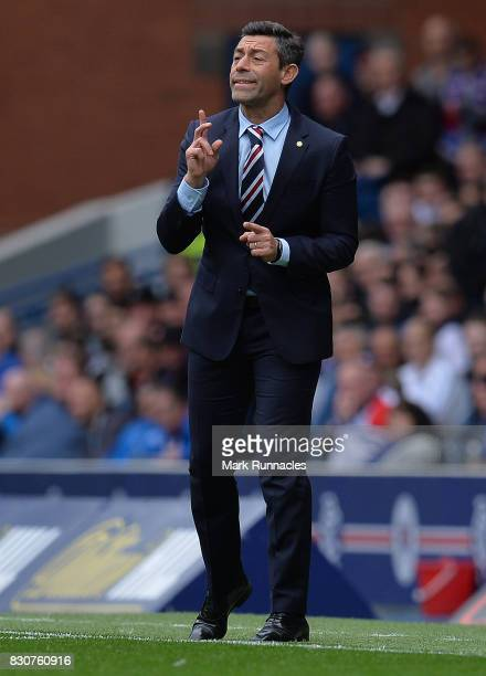 Rangers manager Pedro Caixinha gestures during the Ladbrokes Scottish Premiership match between Rangers and Hibernian at Ibrox Stadium on August 12...