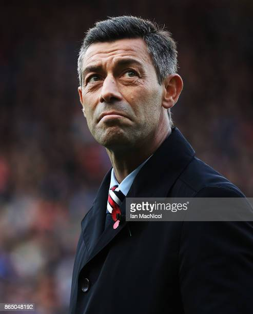 Rangers manager Pedro Caixinha is seen during the Betfred League Cup Semi Final between Rangers and Motherwell at Hampden Park on October 22 2017 in...