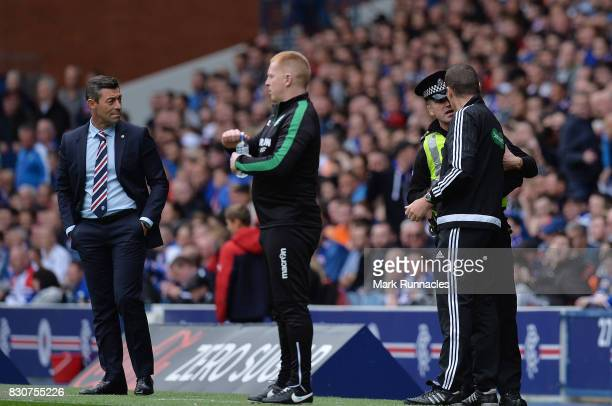 Rangers manager Pedro Caixinha looks on as an officer from police Scotland speaks to the fourth official during the Ladbrokes Scottish Premiership...