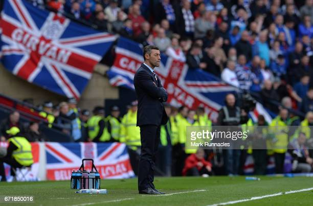 Rangers manager Pedro Caixinha looks on from the sideline during the William Hill Scottish Cup SemiFinal between Celtic FC and Rangers FC at Hampden...