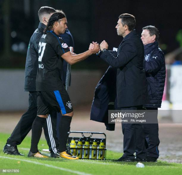 Rangers manager Pedro Caixinha with double goal scorer Carlos Pena during the Ladbrokes Scottish Premiership match at McDiarmid Park Perth