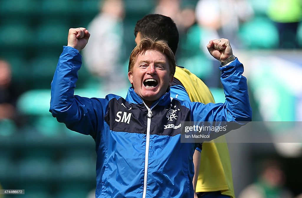 Rangers manager Stuart McCall celebrates at full time during the Scottish Championship play off semi final, second leg match between Hibernian and Rangers at Easter Road on May 23, 2015 in Edinburgh, Scotland.