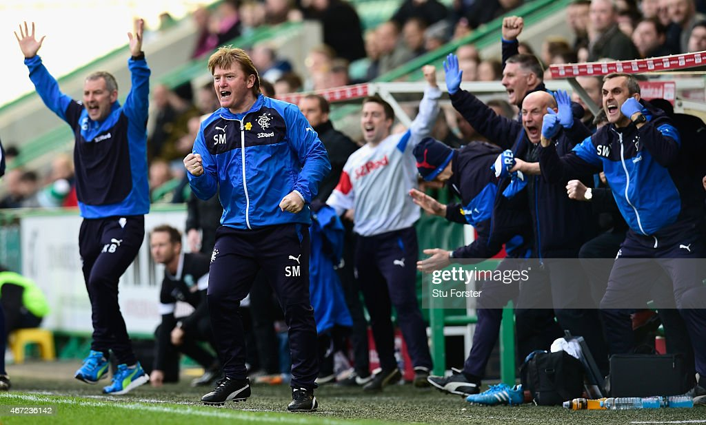 Rangers manager Stuart McCall celebrates the opening goal during the Scottish Championship match between Hibernian and Rangers at Easter Road on March 22, 2015 in Edinburgh, Scotland.
