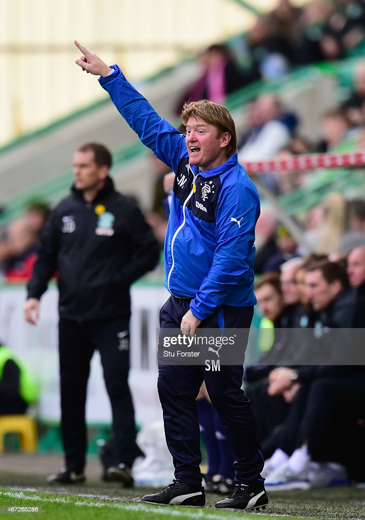 Rangers manager Stuart McCall reacts during the Scottish Championship match between Hibernian and Rangers at Easter Road on March 22, 2015 in Edinburgh, Scotland.