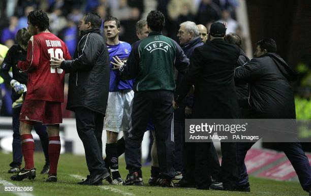 Rangers manager Walter Smith and Barry Ferguson react after goalkeeper Allan Mcgregor was sent off during the UEFA Cup Third Round Second Leg match...