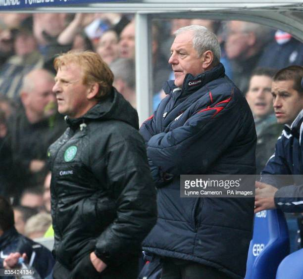Rangers manager Walter Smith with Celtic manager Gordon Strachan during the Clydesdale Bank Scottish Premier League match at Ibrox Stadium Glasgow