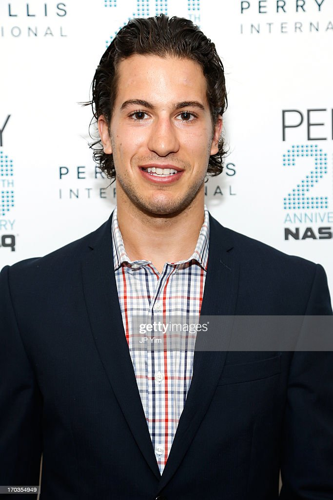NY Rangers <a gi-track='captionPersonalityLinkClicked' href=/galleries/search?phrase=Michael+Del+Zotto&family=editorial&specificpeople=4044191 ng-click='$event.stopPropagation()'>Michael Del Zotto</a> attends Perry Ellis International celebration of the opening of its new NYC Headquarters at The Hippodrome Building on June 11, 2013 in New York City.