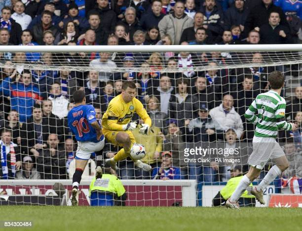 Rangers' Nacho Novois is denied a goal by Celtic goalkeeper Artur Boruc during the Clydesdale Bank Scottish Premier League match at Ibrox Glasgow