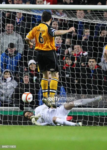Rangers Neil Alexander saves a penalty from Annan Athletic's Scott Chaplain during the Irn Bru Scottish Third Division match at Ibrox Stadium Glasgow