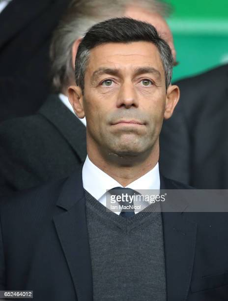 Rangers new Head Coach Pedro Caixinha is seen during the Ladbrokes Scottish Premiership match between Celtic and Rangers at Celtic Park on March 12...