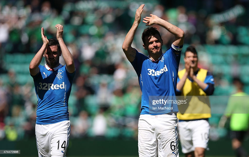 Rangers Nicky Clatk and Lee McCulloch celebrates at full time during the Scottish Championship play off semi final, second leg match between Hibernian and Rangers at Easter Road on May 23, 2015 in Edinburgh, Scotland.