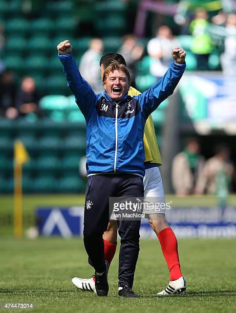 Rangers Nicky Clatk and Lee McCulloch celebrates at full time during the Scottish Championship play off semi final second leg match between Hibernian...