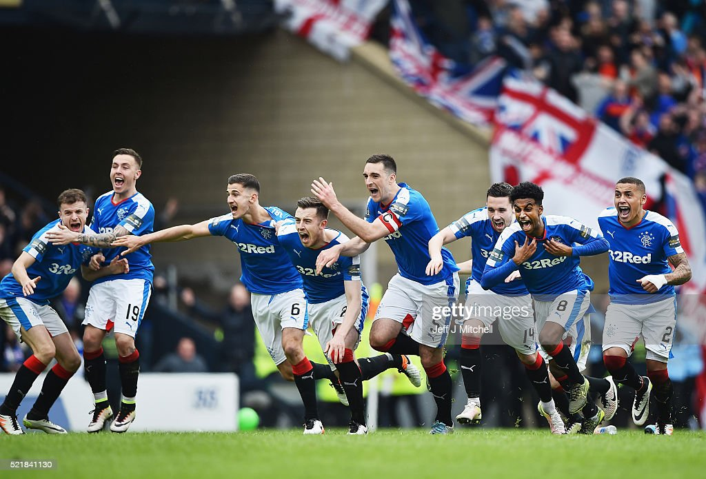 Rangers players celebrate after beating Celtic in a penalty shoot out during the William Hill Scottish Cup semi final between Rangers and Celtic at Hampden Park on April 17, 2016 in Glasgow, Scotland.