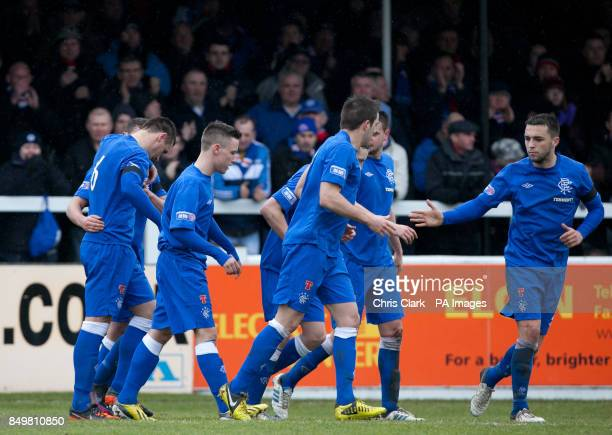 Rangers' players celebrate Lee McCulloch's goal against Elgin City during the IRNBRU Scottish Third Division match at Borough Briggs Elgin