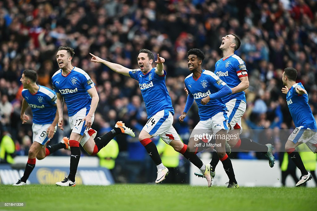 Rangers players celebtate after beating Celtic in a penalty shoot out during the William Hill Scottish Cup semi final between Rangers and Celtic at Hampden Park on April 17, 2016 in Glasgow, Scotland.