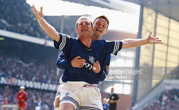 Rangers players Paul Gascoigne celebrates a goal with Davie Robertson during the Scottish Premier League match between Rangers and Aberdeen at Ibrox...