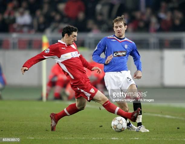 Rangers' Sasa Papac and VfB Stuttgart's Roberto Hilbert battle for the ball