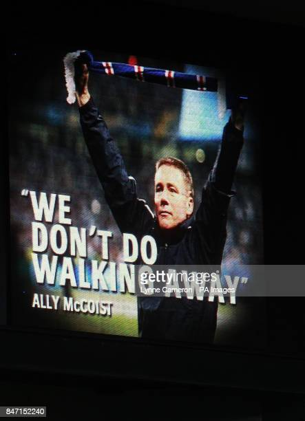 Rangers' screens show a quote from Ally McCoist during the Clydesdale Bank Scottish Premier League match at Ibrox Stadium Glasgow