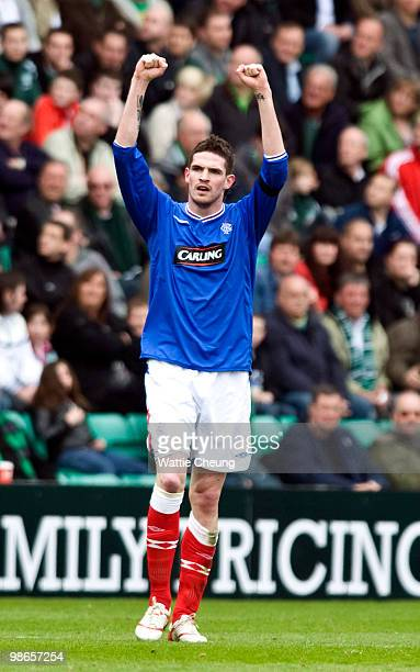 Rangers striker Kyle Lafferty celebrates his opening goal during the Clydesdale Bank Scottish Premier League match between Hibernian and Rangers at...