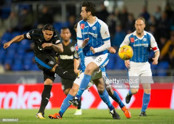 Rangers's Carlos Pena shoot during the Ladbrokes Scottish Premiership match at McDiarmid Park Perth