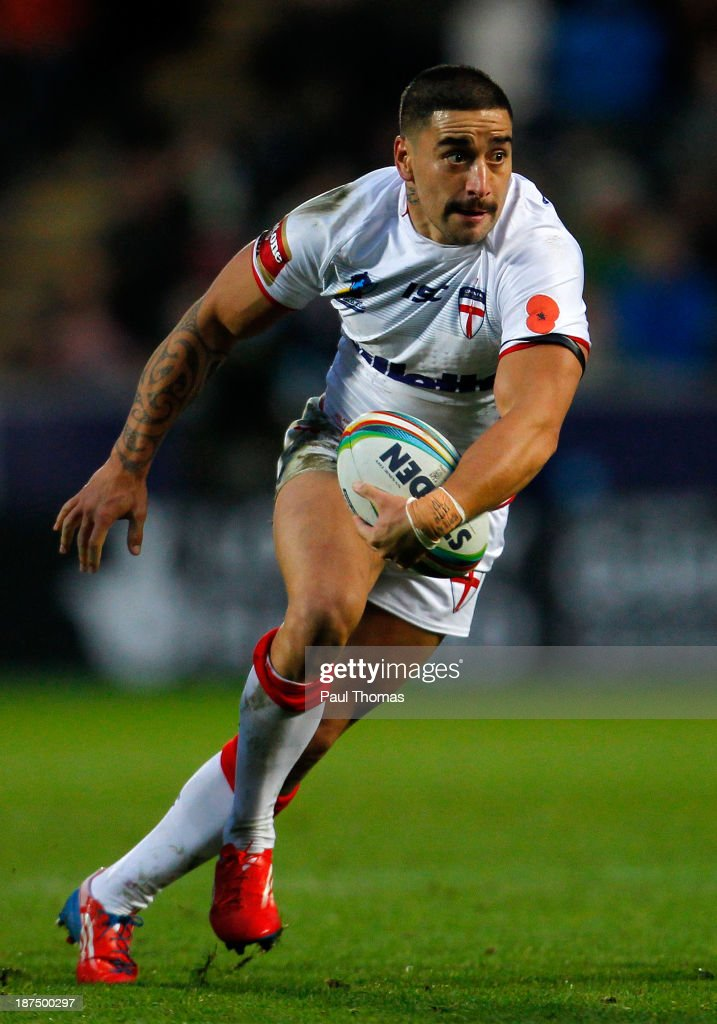 Rangi Chase of England in action during the Rugby League World Cup Group A match at the KC Stadium on November 9, 2013 in Hull, England.