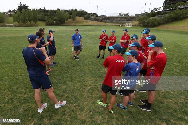 Rangitoto College students chat with Martin Guptill Tim Southee Colin Munro and Mitch Santner of the BLACKCAPS as they make a supprise visit as part...