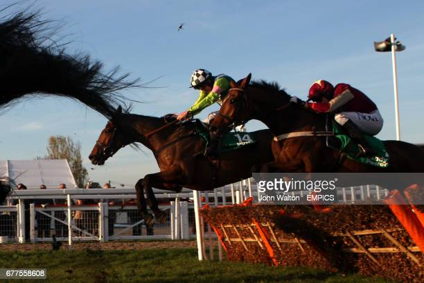 Rangitoto ridden by Ruby Walsh jumps the last on the way to winning The Paddy Power mobile intermediate handicap hurdle race