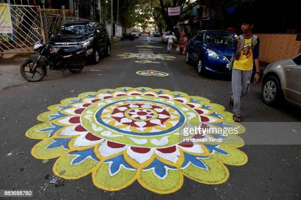 Rangoli designs on road as Grand Artfestival start at Navi Mumbai Bengali Association Vashi on November 30 2017 in Navi Mumbai India