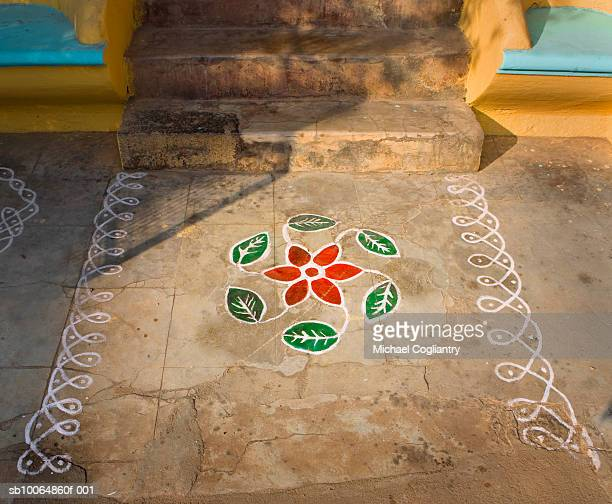 Rangoli in front of house