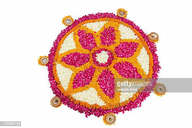 Rangoli of flowers at Onam