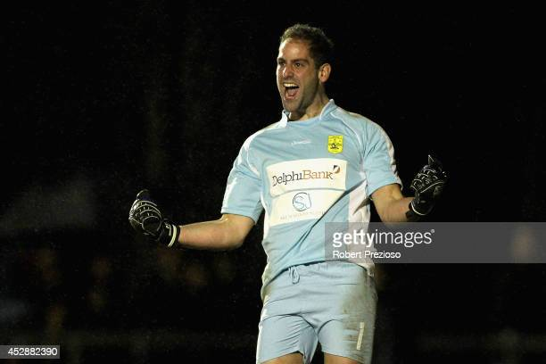 Rani Dowisha of South Springvale celebrates after making a save during a penalty shoot out to then win the game during the FFA Cup match between...