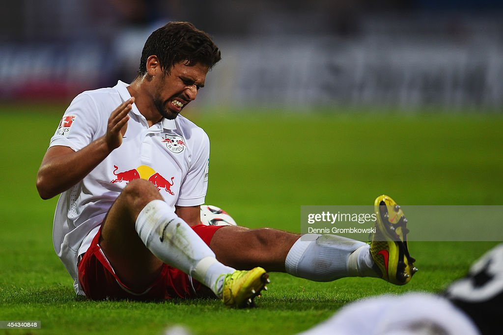 <a gi-track='captionPersonalityLinkClicked' href=/galleries/search?phrase=Rani+Khedira&family=editorial&specificpeople=5863930 ng-click='$event.stopPropagation()'>Rani Khedira</a> of RB Leipzig reacts during the Second Bundesliga match between FSV Frankfurt and RB Leipzig at Volksbank Stadion on August 29, 2014 in Frankfurt am Main, Germany.