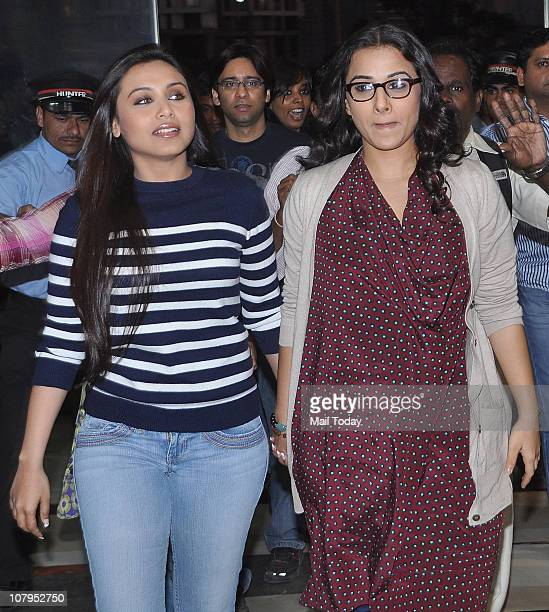 Rani Mukherjee and Vidya Balan at Inorbit mall in Malad to sell tickets of their latest film 'No One Killed Jessica' in Mumbai