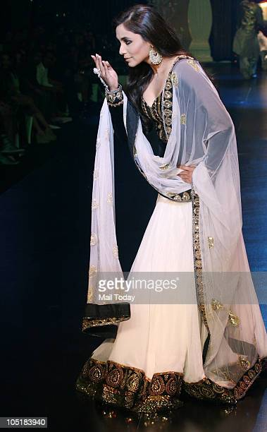 Rani Mukherjee walks the ramp at the 'Being Human' foundation show at day four of the HDIL Couture week in Mumbai on October 9 2010