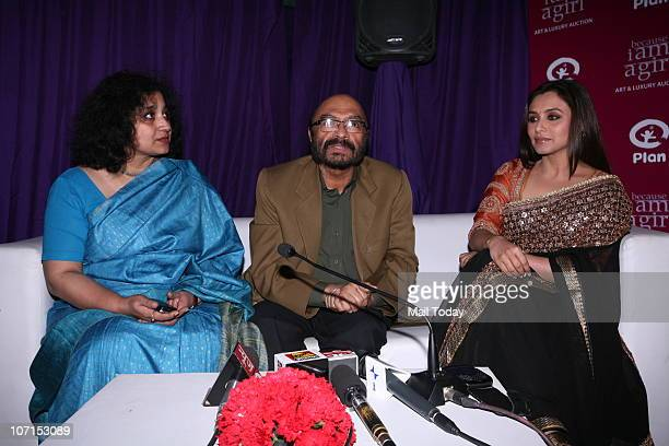 Rani Mukherjee with Filmmaker Govind Nihalani with Plan India executive director Bhagyashri Dengle at a charity function at the Italian embassy in...