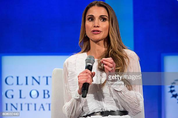 Rania AlAbdullah Queen of Jordan speaks in a panel discussion during the annual meeting of the Clinton Global Initiative in New York US on Monday...