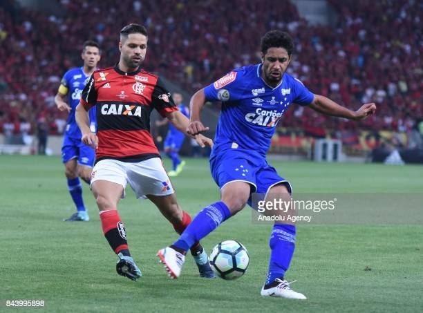 Raniel of Cruzeiro in action against Diego of Flamengo during the first match of the Brazilian Cup Final between Flamengo and Cruzeiro in Rio de...