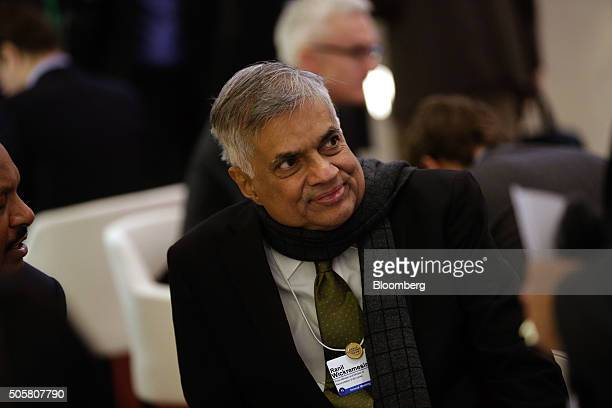 Ranil Wickremesinghe Sri Lanka's prime minister looks on between sessions during the World Economic Forum in Davos Switzerland on Wednesday Jan 20...