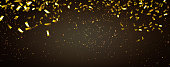 raning gold confetti party background