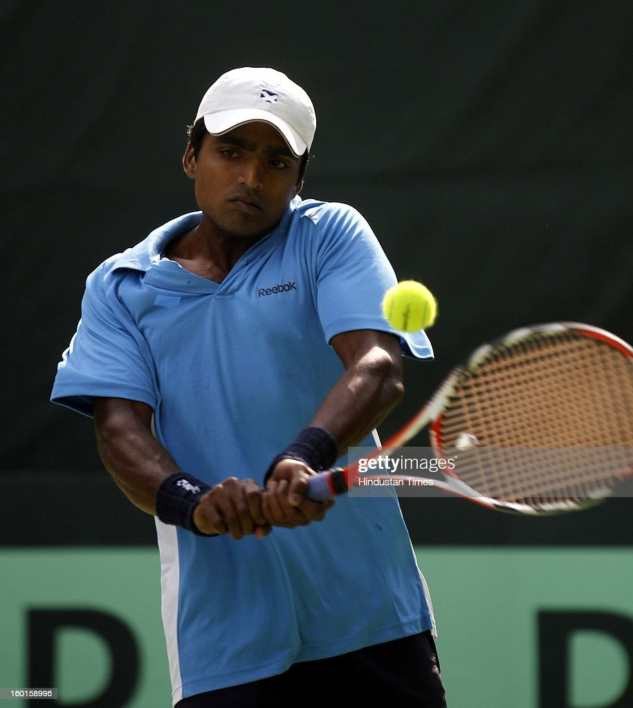 V M Ranjeeth member of India Davis cup team during practice session at Delhi Lawn Tennis Association on January 27, 2013 in New Delhi, India.