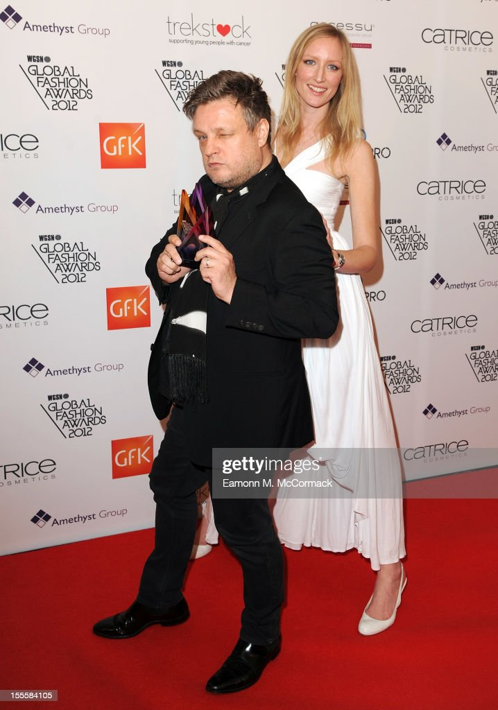 Rankin with his Hall of Fame award and Jade Parfitt during the WGSN Global Fashion Awards at The Savoy Hotel on November 5, 2012 in London, England.