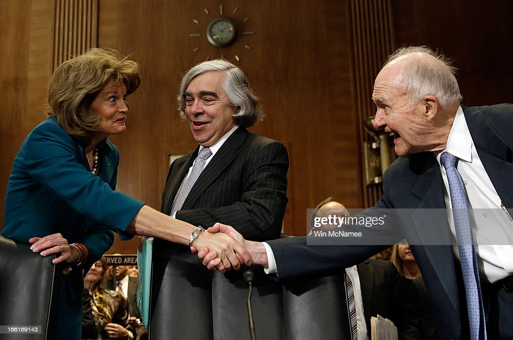 Ranking committee member Sen. <a gi-track='captionPersonalityLinkClicked' href=/galleries/search?phrase=Lisa+Murkowski&family=editorial&specificpeople=3134392 ng-click='$event.stopPropagation()'>Lisa Murkowski</a> (R-AK) (L) greets former National Security Advisor <a gi-track='captionPersonalityLinkClicked' href=/galleries/search?phrase=Brent+Scowcroft&family=editorial&specificpeople=202236 ng-click='$event.stopPropagation()'>Brent Scowcroft</a> (R) prior to Secretary of Energy nominee Ernest Moniz testifying before the Senate Energy and Natural Resources Committee April 9, 2013 in Washington, DC. Moniz, a nuclear physicist, testified before a full committee hearing on his pending nomination.