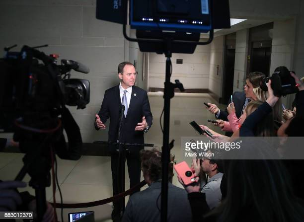 Ranking member Adam Schiff speaks about today's testimoy from US Attorney General Jeff Sessions during a door session of the House Intelligence...