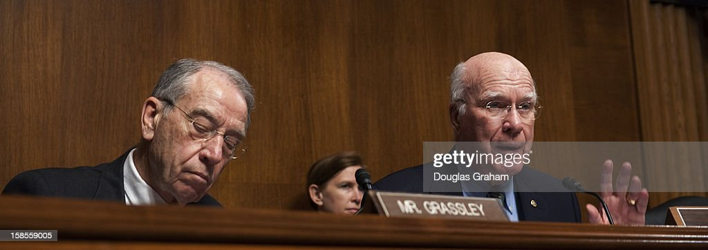 Ranking member Charles Grassley, R-IA., and Chairman Patrick Leahy, D-VT., during the TopicFull committee hearing on 'The State Of The Right To Vote After The 2012 Election,' focusing on American's access to the voting booth and the continuing need for protections against efforts to limit or suppress voting.