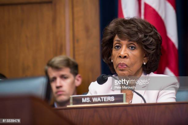 Ranking Member Maxine Waters looks on as Federal Reserve Board Chairwoman Janet Yellen testifies before the House Financial Committee about the State...