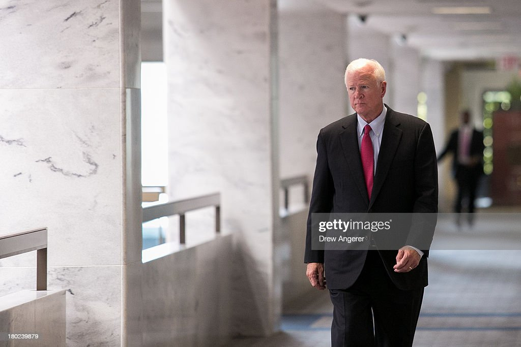 Ranking member of the Senate Intelligence Committee Sen. Saxby Chambliss (R-GA) arrives for a Senate Intelligence Committee closed hearing, on Capitol Hill, September 10, 2013 in Washington, DC. President Barack Obama will address the nation about Syria on Tuesday evening.