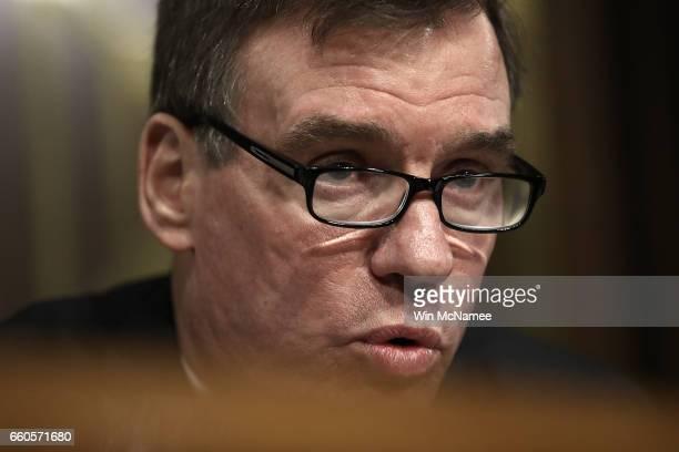 Ranking member of the Senate Select Intelligence Committee Sen Mark Warner delivers remarks during a hearing of the Senate Select Intelligence...