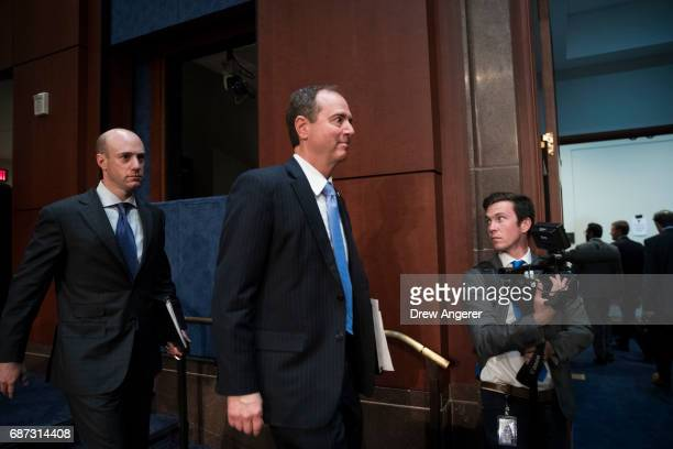Ranking member Rep Adam Schiff leaves the hearing room following the testimony of former Director of the US Central Intelligence Agency John Brennan...