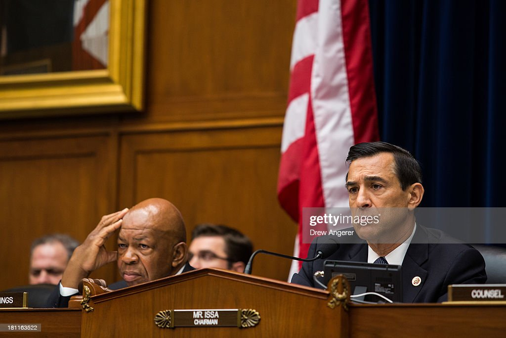 Ranking Member Rep. <a gi-track='captionPersonalityLinkClicked' href=/galleries/search?phrase=Elijah+Cummings&family=editorial&specificpeople=725911 ng-click='$event.stopPropagation()'>Elijah Cummings</a> (D-MD) and Committee Chairman <a gi-track='captionPersonalityLinkClicked' href=/galleries/search?phrase=Darrell+Issa&family=editorial&specificpeople=2263419 ng-click='$event.stopPropagation()'>Darrell Issa</a> (R-CA) listen to testimony during a House Oversight Committee hearing entitled 'Reviews of the Benghazi Attack and Unanswered Questions,' in the Rayburn House Office Building on Capitol Hill, September 19, 2013 in Washington, DC. Committee Chairman <a gi-track='captionPersonalityLinkClicked' href=/galleries/search?phrase=Darrell+Issa&family=editorial&specificpeople=2263419 ng-click='$event.stopPropagation()'>Darrell Issa</a> (R-CA) is continuing to lead the GOP investigation of the Sept. 11, 2012, assaults that killed U.S. Ambassador J. Christopher Stevens and three other Americans at the U.S. Consulate in Benghazi, Libya.