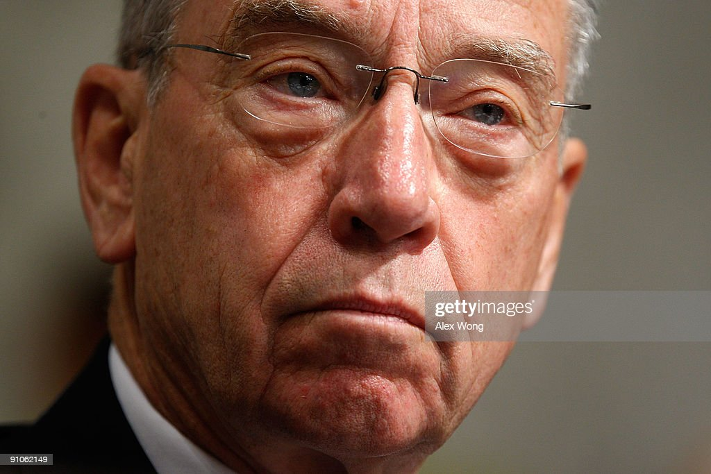 Ranking member Sen. <a gi-track='captionPersonalityLinkClicked' href=/galleries/search?phrase=Chuck+Grassley&family=editorial&specificpeople=504960 ng-click='$event.stopPropagation()'>Chuck Grassley</a> (R-IA) listens during a mark up hearing before the U.S. Senate Finance Committee on Capitol Hill September 23, 2009 in Washington, DC. Members of the committee continued to work on their version of the legislation for healthcare reform.